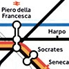 rydra_wong: Fragment of a Tube map, with stations renamed Piero della Francesca, Harpo, Socrates and Seneca. (walking -- the great bear)