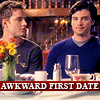 scrollgirl: oliver and clark side-by-side at dining table; text: awkward first date (dcu smallville clark/ollie)
