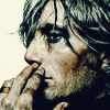 fanatic_os: hollow-faced and eyed man, side profile, lank grey hair, hand to his face, pensive, ring!bandages on some fingers (post-death: thinking)