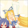 yati: Flonne squishing Laharl (Disgaea) while waving one arm (pestering laharl!) (Default)