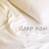 "nishatalitha: slightly crumpled white sheets, small text= ""sleep now"" (Sleep now)"