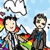 jenwryn: Dean and Cas and a rainbow, yo. (spn • dean/castiel; and rainbows!)