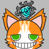 queerphysicist: Image of an orange cat with paler orange stripes and green eyes. He is grimacing. A blue diamond is above his head. (Default)