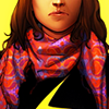 amihan: ms. marvel kamala khan showing lower portion of face and upper part of torso, kamala wears black shirt with scarf ([ms. marvel] kamala khan)