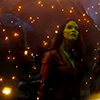 muccamukk: Gamora surrounded by bits of glowing pollen. (GotG: Space Lady)