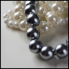 sofiaviolet: knotted strands of white and grey pearls (feminine, pearls)