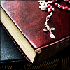 sofiaviolet: rosary on leather-bound bible (the book you gave me, rosary)