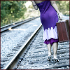sofiaviolet: girl in purple dress carrying suitcase and walking down railroad tracks (travel)