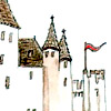rhian_crockett: A painting of a castle; there is a red flag flying. (Camelot) (Default)