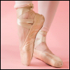 silly_cleo: Close up of feet in satin pink ballet pointe shoes and pink tights, one foot pointed, the other flat on the ground. (dancing! - pointe shoes)
