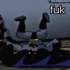 "rynet_ii: The Batman landing awkwardly on his head after falling, captioned ""fuk"" (fuk)"