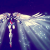 askerian: Wing Zero gundam rising into space with wings spread (1_Wing Zero is shiny)