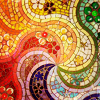 recessional: a rainbow coloured mosaic (writing: every possibility in stone)