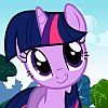 frith: Violet unicorn cartoon pony with a blue mane (FIM Twilight friendly)