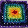 alexseanchai: 11-round crochet granny square, red center through grape edge (rainbow granny square)