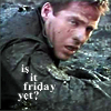 enigel: Cameron Mitchell crawling in the mud, text 'is it friday yet?' (SG-1 Mitchell friday yet?)