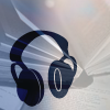 enigel: image of headphones overlaid over image of open book (audio books)