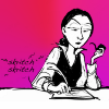 sylleptic: Ada Lovelace from the 2dgoggles webcomic, writing with a quill (comics; 2dgoggles; Ada working)