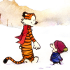 sylleptic: Calvin and Hobbes walking in snow (comics; Calvin and Hobbes; winter)