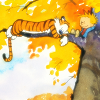 sylleptic: Calvin and Hobbes sleeping in a tree with orange leaves (comics; Calvin and Hobbes; sleepy fall)