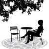 readingtogether: woman in silhouette reading at a table with an empty chair across from her (Default)