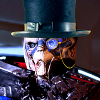 wallwalker: A raptor-like alien with mandibles and shiny skin wearing a top hat and monocle. (BRITISH!)