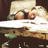 enigel: Kara Starbuck Thrace sleeping with her head on a pile of star maps (keeling over)