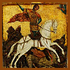 nkyinkyin: a religious icon of st. george on horseback slaying a dragon. ([2] knight makes right)