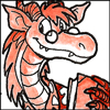 silveradept: A dragon librarian, wearing a floral print shirt and pince-nez glasses, carrying a book in the left paw. Red and white. (Dragon Librarian)