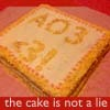 "julia_beck: Rectangular cake with white frosting and yellow inscription ""AO3= <3"" (AO3_cake)"