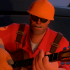 delphi: Engineer from Team Fortress 2 playing guitar by the fireside. (Engineer)