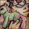 katherine: Pink-haired, green My Little Pony toy held by anthropomorphic spotted cat. (furry)
