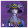 helens78: A blue female humanoid with large horns and small tentacles coming from behind her ears, wearing a bright blue hat. (wow: teuthida)