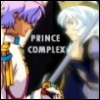 "rynet_ii: Prince Siegfried from Princess Tutu and Dios from Utena, both looking grim. The picture is captioned ""PRINCE COMPLEX."" (Prince Complex)"
