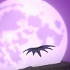 rynet_ii: The Batman, silhouetted against the moon, leaps off a building. (Leap of faith)