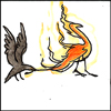 jjhunter: Watercolor sketch of sneaky corvid pulling phoenix tail feather from behind, phoenix rearing back in affronted surprise (corvid pulls phoenix tail)