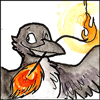 jjhunter: Watercolor sketch of self-satisfied corvid winking with flaming phoenix feather in its beak (corvid with phoenix feather)