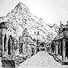 meneltarma: black and white drawing of a street of above-ground tombs and a mountain in the background (lotr: cities of the dead)