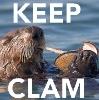 resonant: otter floating on its back, eating a clam. Text: KEEP CLAM (keep clam)