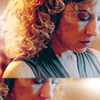 trialia: River Song, looking down, distant, dual image. (who] river looking down/dress)