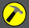 hammerpenisedingly: The logo of Captain Hammer. It is a claw hammer on a yellow circle background. (Hammer logo)