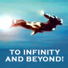 "helens78: From the Iron Man movie, suit in flight. Caption ""To Infinity And Beyond!"" (im: infinity)"