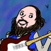 eftychia: Cartoon of me playing electric guitar (debtoon)
