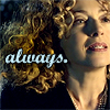 trialia: River Song with cascading blonde curls at Amy's wedding, saying 'yes' to the Doctor, with the text 'always.' in script. (who] river - always yes)