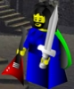 eftychia: Lego-ish figure in blue dress, with beard and breasts, holding sword and electric guitar (lego-blue)