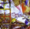 paristhroughthewindow: A brightly colored painting showing the eiffel tower and buildings through a window. (pic#854586)