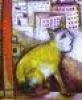 paristhroughthewindow: Painting of a yellow cat with a human-like face sitting on a windowsill with buildings in the background (Default)