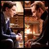 helens78: Two men sit facing each other, hands crossed, elbows on their knees. (x: charles/erik)