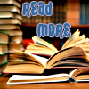 """kellzilla: open books piled on each other, stacks of books behind, wall of books out of focus in the background; text """"read more"""" (Default)"""