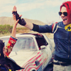 turlough: The Girl & Party Poison (Grace Jeanette & Gerard Way) high-fiveing, on the set of Na Na Na, Sept 2011 ((mcr) yeah!)